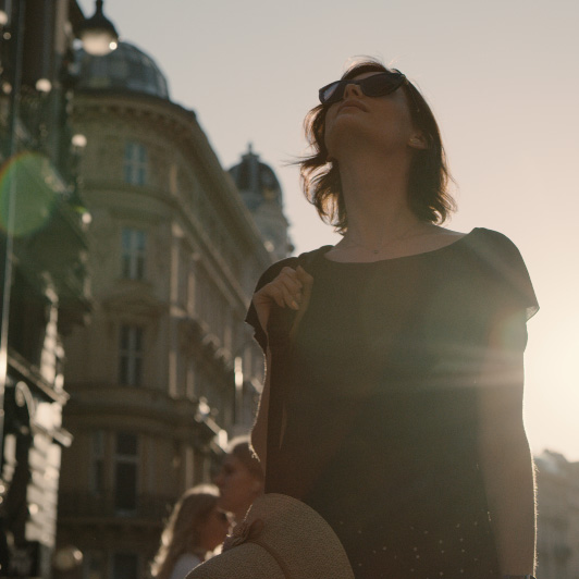 8K premium royalty-free stock footage shot on RED Camera, instantly available in RED R3D format. License this collection of Woman Exploring City now!