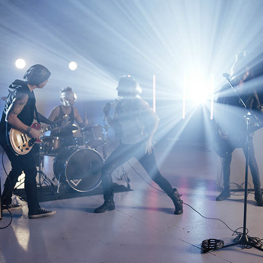 8K premium royalty-free stock footage shot on RED Camera, instantly available in RED R3D format. License this collection of Rock Band now!