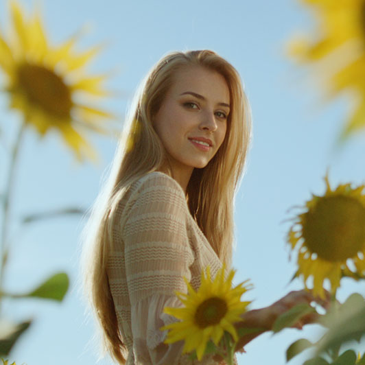 8K premium royalty-free stock footage shot on RED Camera, instantly available in RED R3D format. License this collection of Woman In The Sunflower Field now!